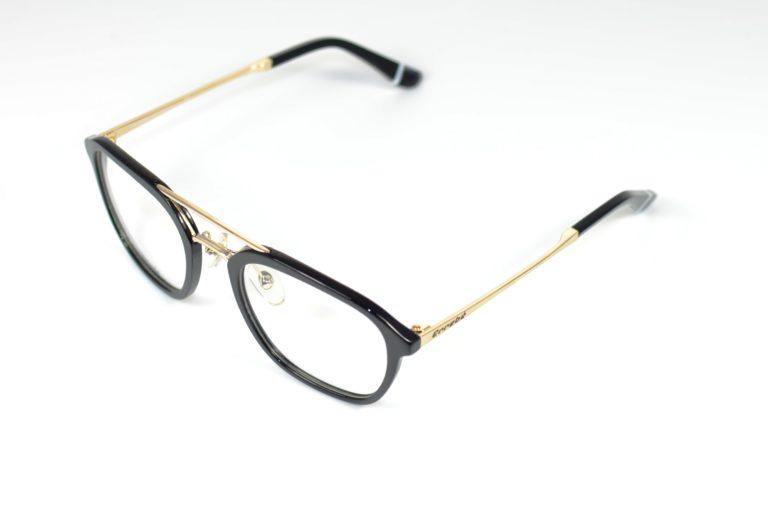 ERREBE PINSA 100-01 BLACK ACETATE GOLD METAL HANDMADE L