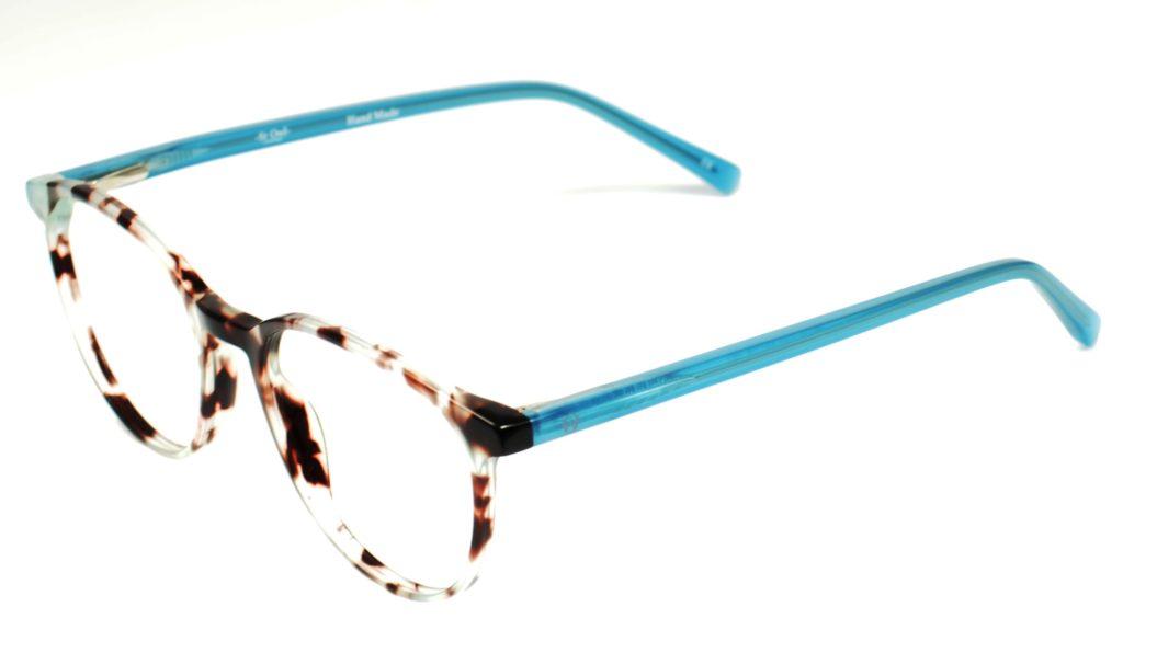 SR OWL 96110 C49-19-142 ANIMALBR-BLUE ACETATE HANDMADE L